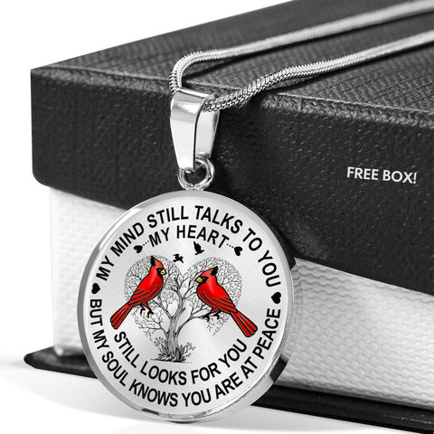 Image of Cardinal Memorial Necklace My Mind Still Talks You Sympathy Remembrance Keepsake Pendant