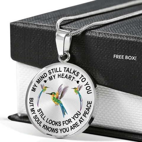 Bestseller - Hummingbird Memorial Necklace My Mind Still Talks You Sympathy Remembrance Keepsake Pendant