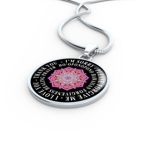 Hoʻoponopono Pink Mandala Pendant Hawaiian Prayer for Healing Necklace
