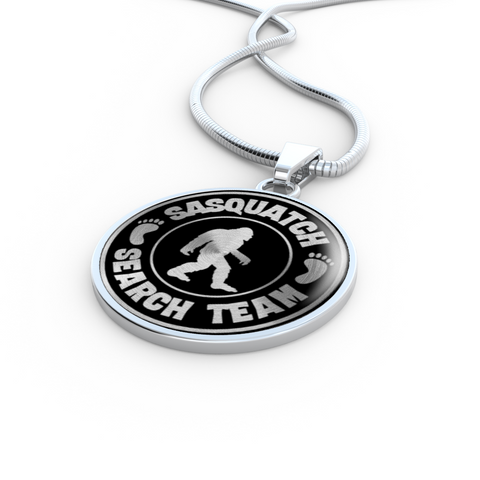 Sasquatch Hunters Search Team Pendant Necklace Bigfoot Big Foot Jewelry for Men Women