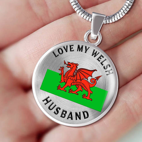 I Love My Welsh Husband Pendant Gift for Valentine's Day Birthdays Surprise Necklace
