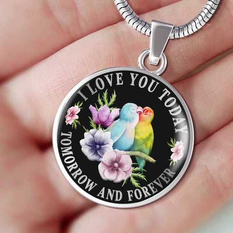 Image of I Love You Lovebird Luxury Pendant Gift Today Tomorrow Forever