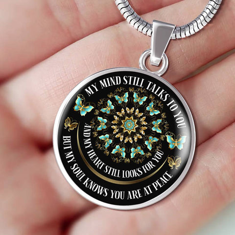 In Loving Memory Butterfly Mandala Luxury Pendant Gift My Mind Talks to You Memorial Necklace