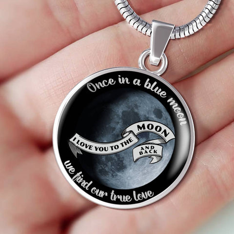 Once in a Blue Moon Gift Luxury Pendant for Her True Love You to Moon and Back Novelty Necklace