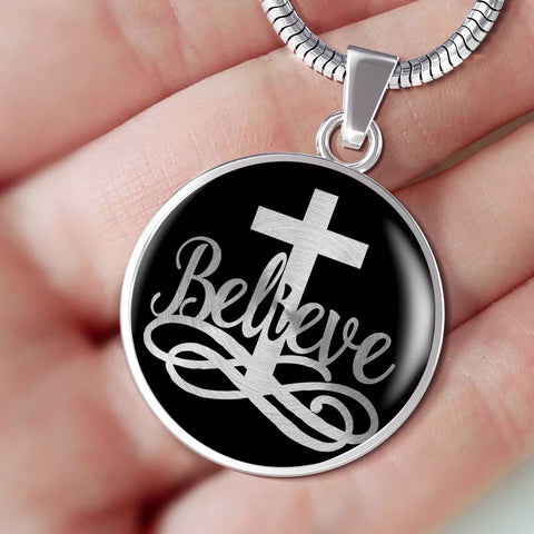 Believe Christian Faith Luxury Pendant Gift Inspirational Support Novelty Necklace