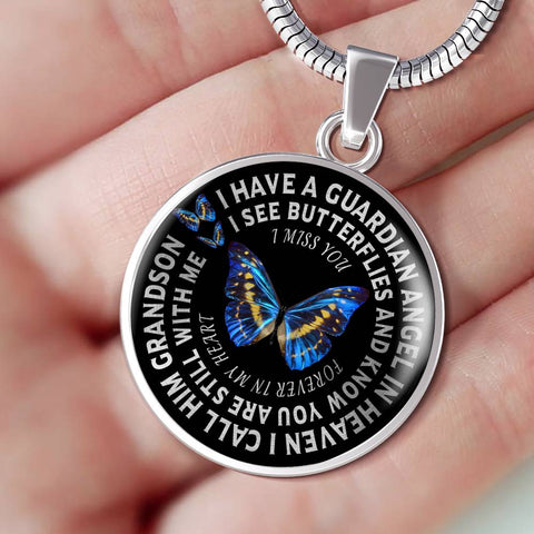 Grandson In Remembrance Gift Luxury Butterfly Pendant I Have a Guardian Angel in Heaven I Call Grandson Forever in My Heart In Memory Necklace Jewelry