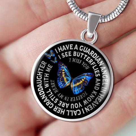 Granddaughter In Remembrance Gift Luxury Butterfly Pendant I Have a Guardian Angel in Heaven I Call Granddaughter Forever in My Heart In Memory Necklace Jewelry
