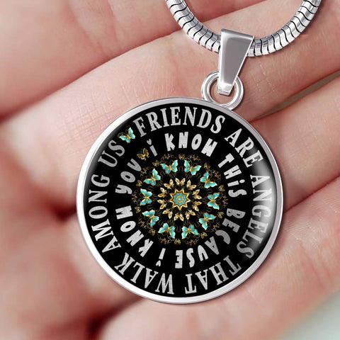 Friends Are Angels Gift Luxury Pendant Turquoise Butterfly Mandala Best Friend Necklace