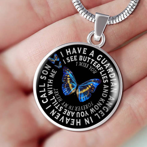Son In Remembrance Gift Butterfly Pendant I Have a Guardian Angel in Heaven I Call Son Forever in My Heart In Memory Necklace Jewelry