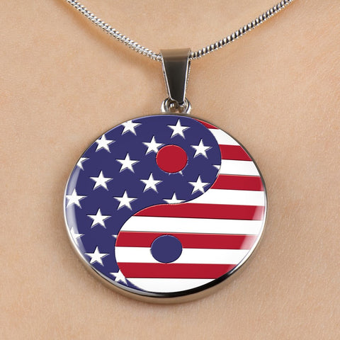 Image of Peace Lover's Gift,  USA Flag Yin and Yang - Unisex USA Gift,