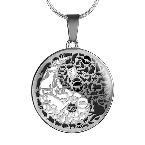 Cat Gift, Yin and Yang Cats, Crazy Cat Lady Gift, Cat Lovers Pendant and Bracelet