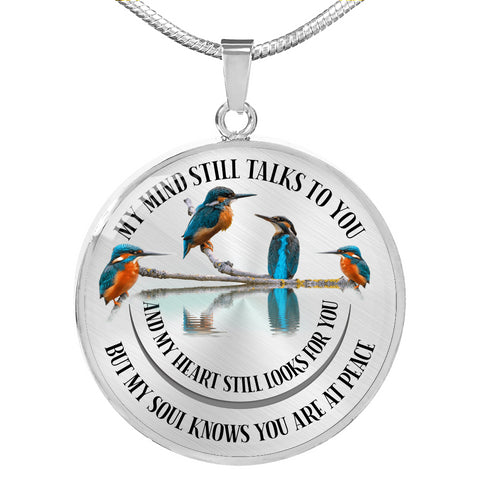 Image of In Loving Memory Kingfisher Luxury Pendant Gift My Mind Talks to You Memorial Necklace V2