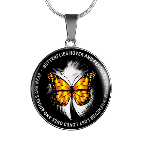 Memorial Gift Pendant Butterflies hover feathers appear when lost loved ones Angels are near