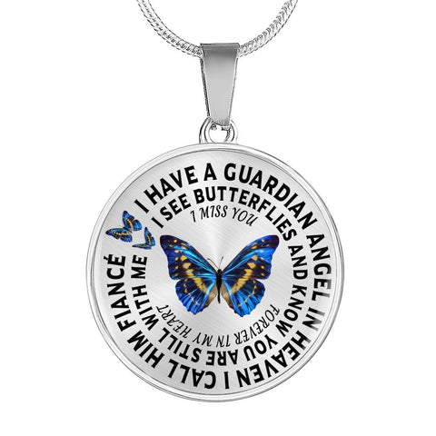Fiancé In Remembrance Gift Luxury Butterfly Pendant I Have a Guardian Angel in Heaven I Call Fiancé Forever in My Heart In Memory Necklace Jewelry