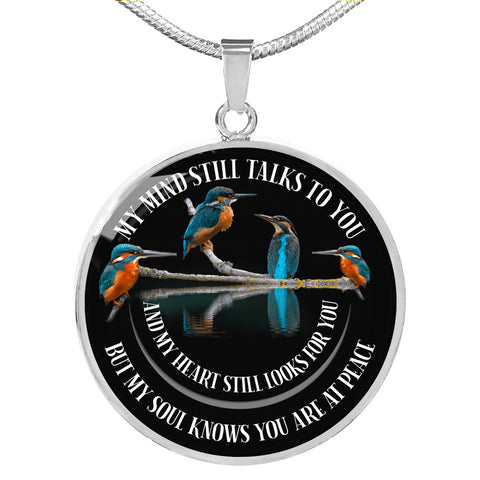 Image of In Loving Memory Kingfisher Luxury Pendant Gift My Mind Talks to You Memorial