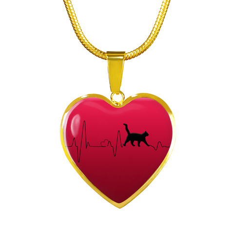 Cat Lady gift, Love Cats Heartbeat Pendant and Bracelet, Gift for Cat Lovers in Your Family