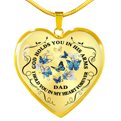 Dad Memorial Heart Luxury Pendant Gift In Loving Memory Keepsake Necklace