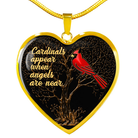 Cardinals Appear When Angels Are Near Bird Luxury Heart Necklace Gift