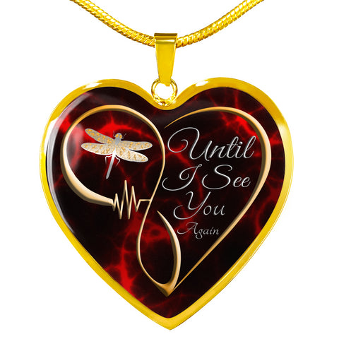 Image of Until I see You Again Dragonfly Memorial Luxury Heart Pendant Gift