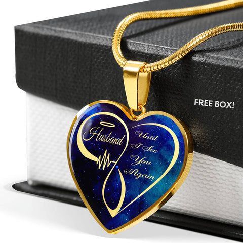 Loving Memory Husband Memorial Luxury Heart Pendant Until I See You Again Necklace