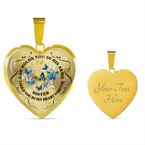 Sister Memorial Heart Luxury Pendant Gift In Loving Memory Keepsake Necklace