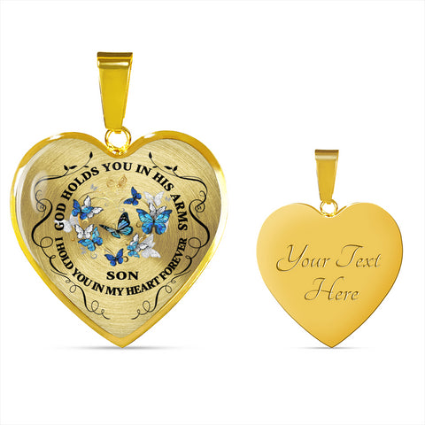 Image of Son Memorial Heart Luxury Pendant Gift In Loving Memory Keepsake Necklace