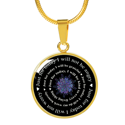 Image of Reiki Prayer Pendant Gift Just for Today Principles of Reiki Positive Mantra Reiki Mandala Necklace