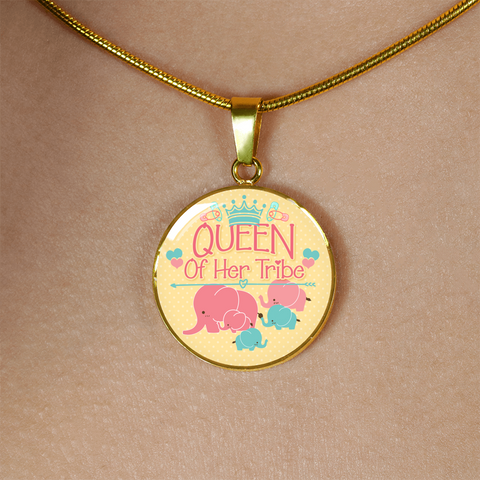 Image of Mom Tribe Gifts Queen of Her Tribe Mother and Baby Elephant Mom Pendant Necklace Bracelet