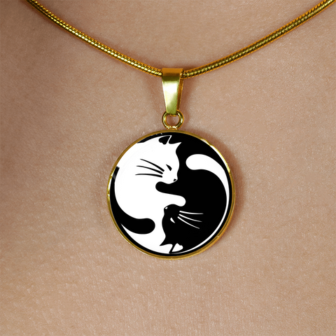 Cat Yin Yang Necklace Gift for Crazy Cat lady Cat Lovers and Cat Enthusiasts Cat Pendant or Bracelet