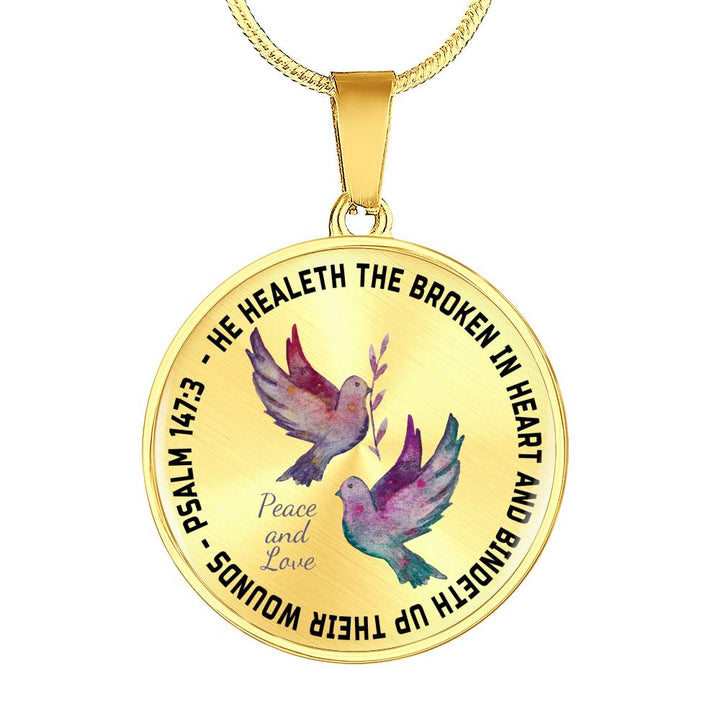 Faith Psalm 147:3 Bible Verse Dove Pendant He Heals the Brokenhearted  Christian Unique Novelty Birthday Gifts Best Scripture Verse Quote Gifts