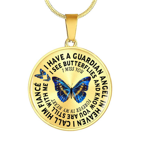 Image of Fiancé In Remembrance Gift Luxury Butterfly Pendant I Have a Guardian Angel in Heaven I Call Fiancé Forever in My Heart In Memory Necklace Jewelry