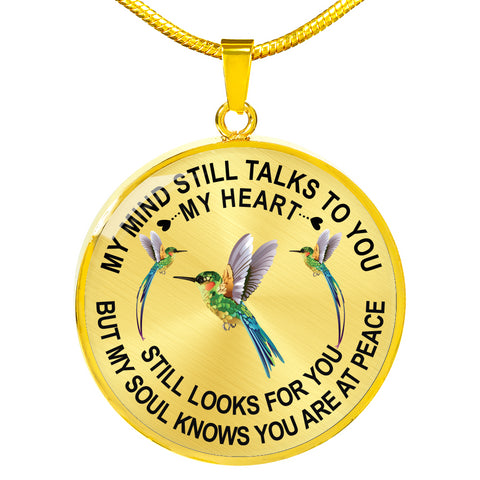 Image of Hummingbird Memorial Necklace My Mind Still Talks You Sympathy Remembrance Keepsake Pendant