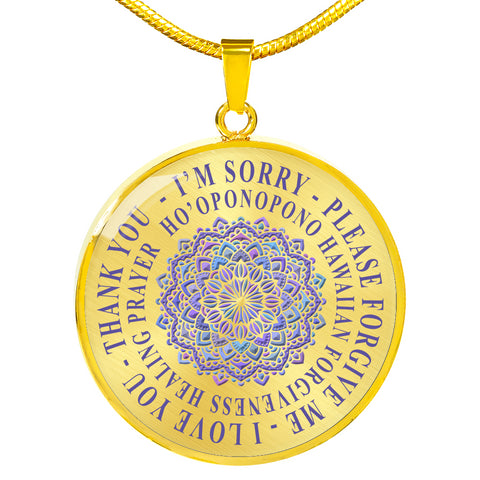 Hoʻoponopono Lavender Mandala Pendant Hawaiian Prayer for Healing Necklace