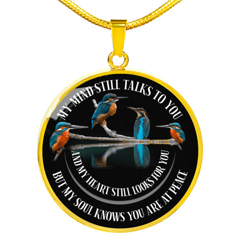 In Loving Memory Kingfisher Luxury Pendant Gift My Mind Talks to You Memorial