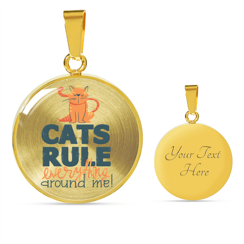 Image of Funny Cat Mom Gift Cat's Rule Everything Around Me Cat Lover's Pendant and Bracelet
