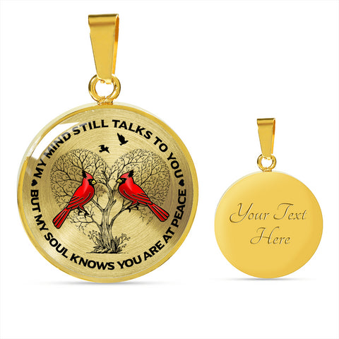 Image of Cardinal Memorial Necklace - My Mind Still Talks You - Sympathy Remembrance Keepsake Pendant
