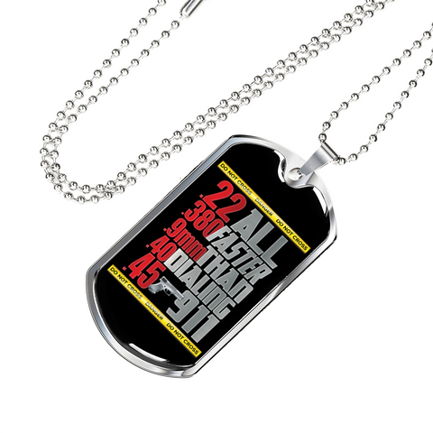 All Faster Than Dialing 911 Funny Gun Lover Gifts Dog Tag Necklace for Men