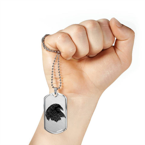 Image of Crow Necklace for Men Stunning Raven's Head Pendant Dog Tag Gift