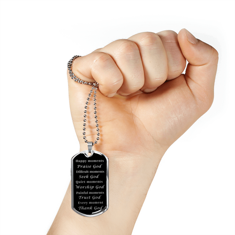 Image of Happy Moments Praise God Faith Pendant Dog Tag Necklace Gift Christian Faith Jewelry