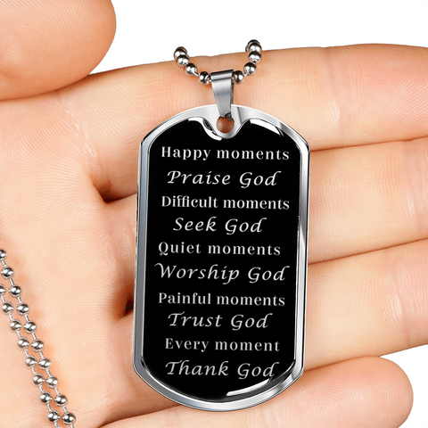 Happy Moments Praise God Faith Pendant Dog Tag Necklace Gift Christian Faith Jewelry