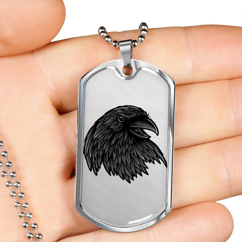 Crow Necklace for Men Stunning Raven's Head Pendant Dog Tag Gift