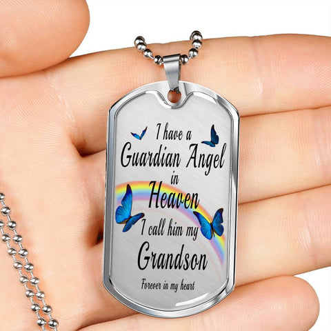 Grandson In Remembrance Gift Butterfly Dog Tag Pendant for Men I Have a Guardian Angel in Heaven In Memory Male Necklace Jewelry