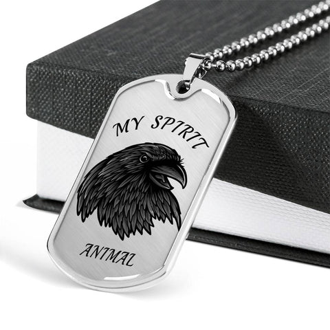 Crow Spirit Animal Necklace for Men Stunning Raven's Head Pendant Dog Tag Gift