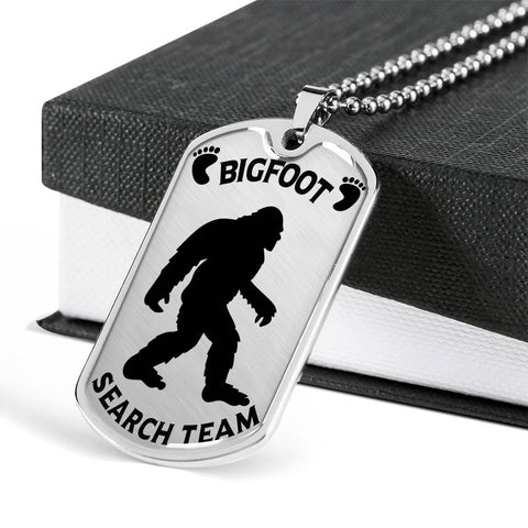 Bigfoot Search Team Dog Tag Silver Pendant Big Foot Hunters Gift Necklace