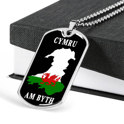 Cymru Am Byth Dog Tag Pendant Wales Forever Welsh National Pride Unisex Necklace