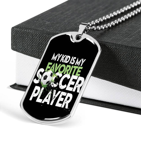 My Kid is My Favorite Soccer Player Necklace for Dad Mom Unisex Dog Tag Pendant Gift