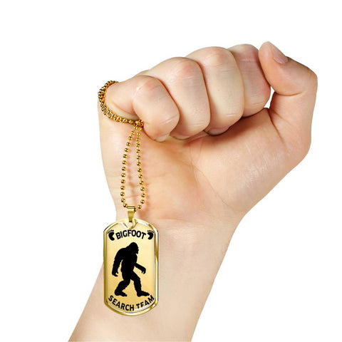 Image of Bigfoot Search Team Dog Tag Silver Pendant Big Foot Hunters Gift Necklace