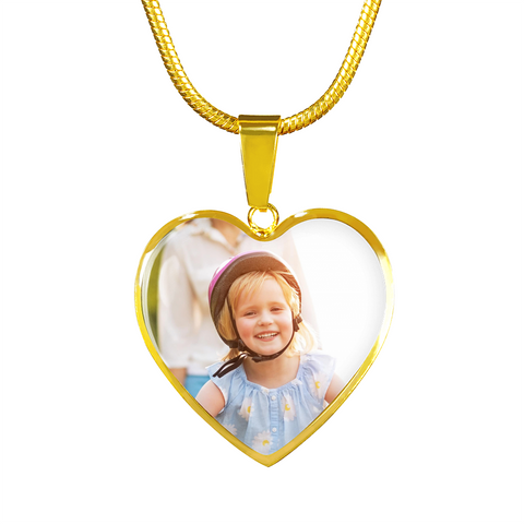Image of Custom Image Heart Pendant Necklace for Women, Buyer Uploads Image Unique Gift Ideas
