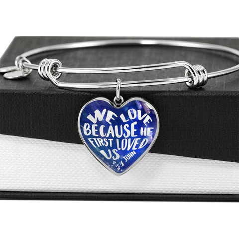 Faith 1 John 4:19 Heart Bracelet Gift We Love Because He First Loved Us Christian Bangle for Her