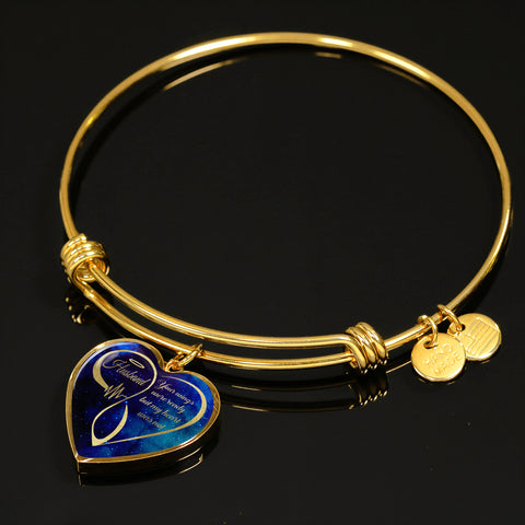 Image of Husband Memorial Luxury Heart Bracelet Your Wings Were Ready in Loving Memory Bangle